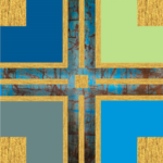 Kreuz - blau-grau-gold -